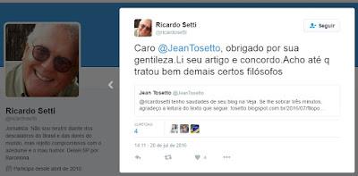 Tela capturada do perfil do jornalista Ricardo Setti no Twitter.