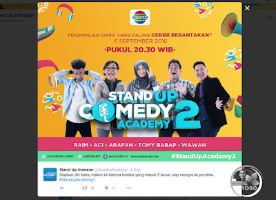 Stand up Comedy Academy 2 (SUCA 2) babak 5 besar. Sumber foto twitter @StandUpAcademy