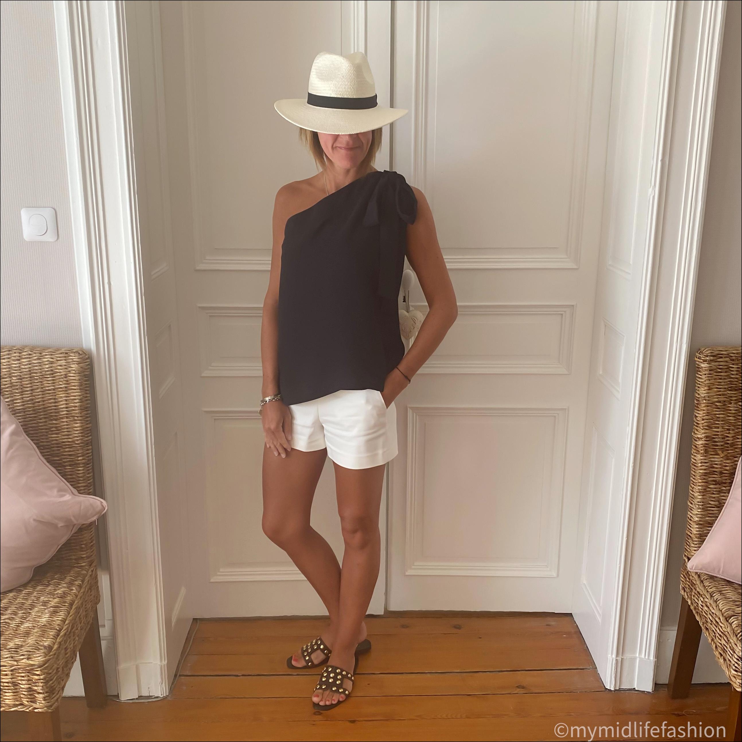 my midlife fashion, zara Panama hat, marks and Spencer off the shoulder blouse, zara shorts, zara studded flat leather sandals