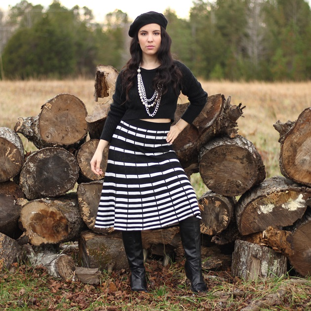 Black and White Sweater Skirt