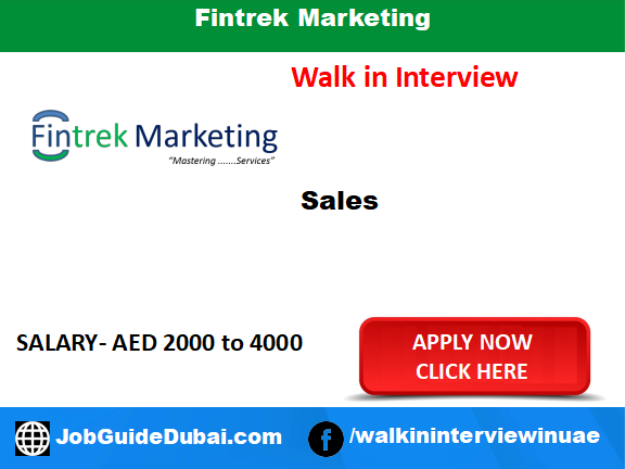 Fintrek Marketing career for sales Executive job in Dubai