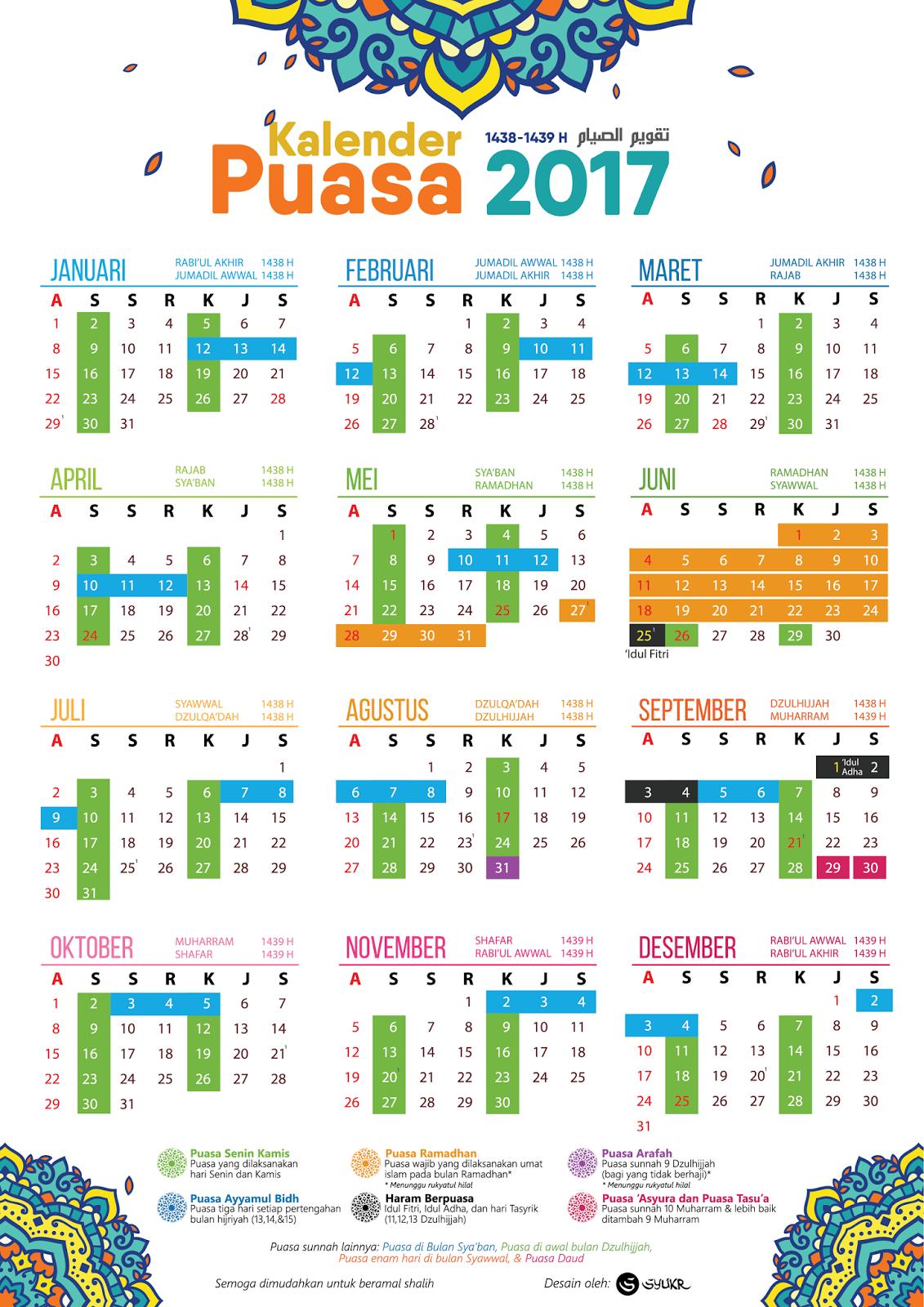 jadual dan tarikh Puasa Sunat Dan Wajib 2017