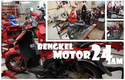 bengkel sepeda motor melayani service malam hari di Surabaya