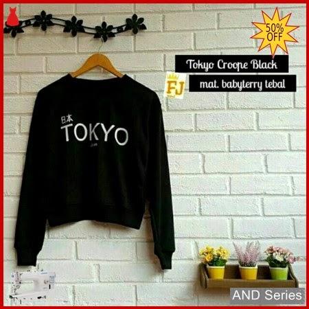 AND182 Sweater Wanita Lucu Tokyo Crop Hitam BMGShop