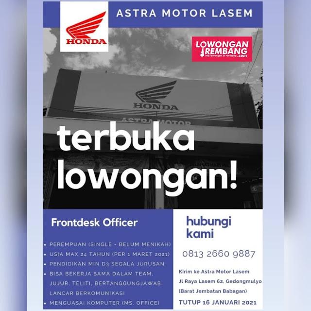 Lowongan Kerja Frontdesk Officer Dealer Astra Motor Lasem Rembang