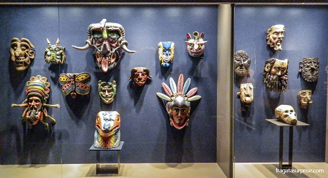 Máscaras cerimoniais das comunidades tradicionais do México no Museu Nacional de Antropologia do México