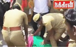 Police forcefully arrest Makkal Adhikaram Members for protest over 500 & 1000 Ban