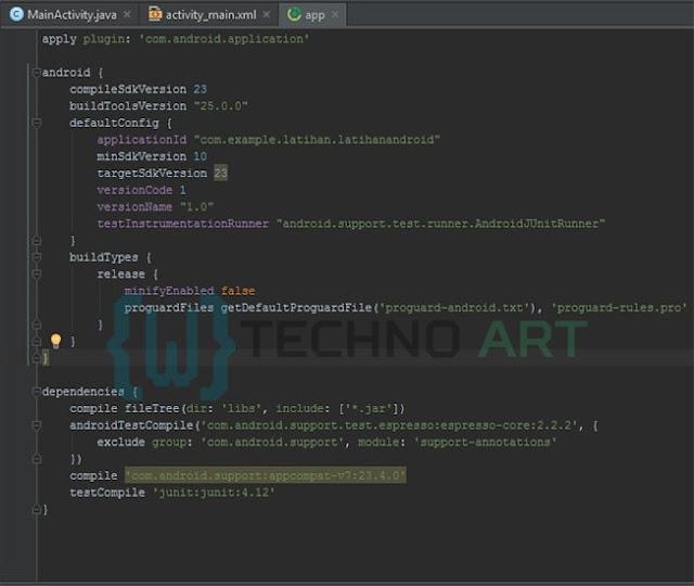 Untuk mengatur min sdk, package, dependencis pada pada project