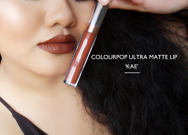 This image shows the full swatch and review on colourpop ultra matte lip in kae
