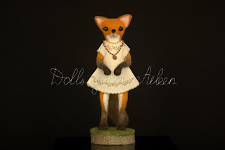 ooak needle felted fox sculpture, front view