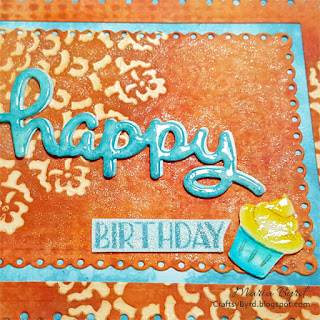 Detail of Happy Birthday Cupcake Card in Orange & Blue by Maria Byrd | CraftsyByrd.blogspot.com
