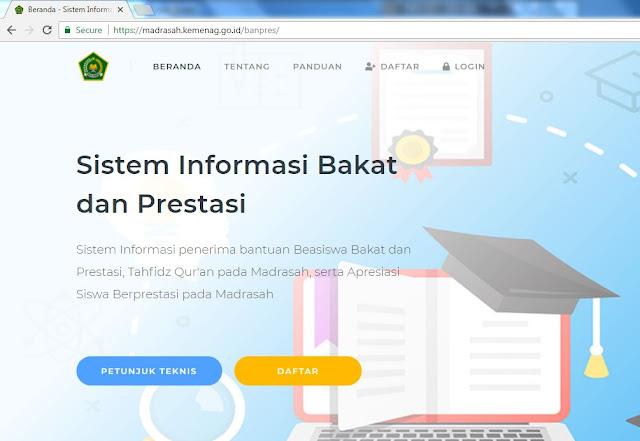 https://madrasah.kemenag.go.id/banpres/ Sistem Informasi Bakat dan Prestasi Kemenag
