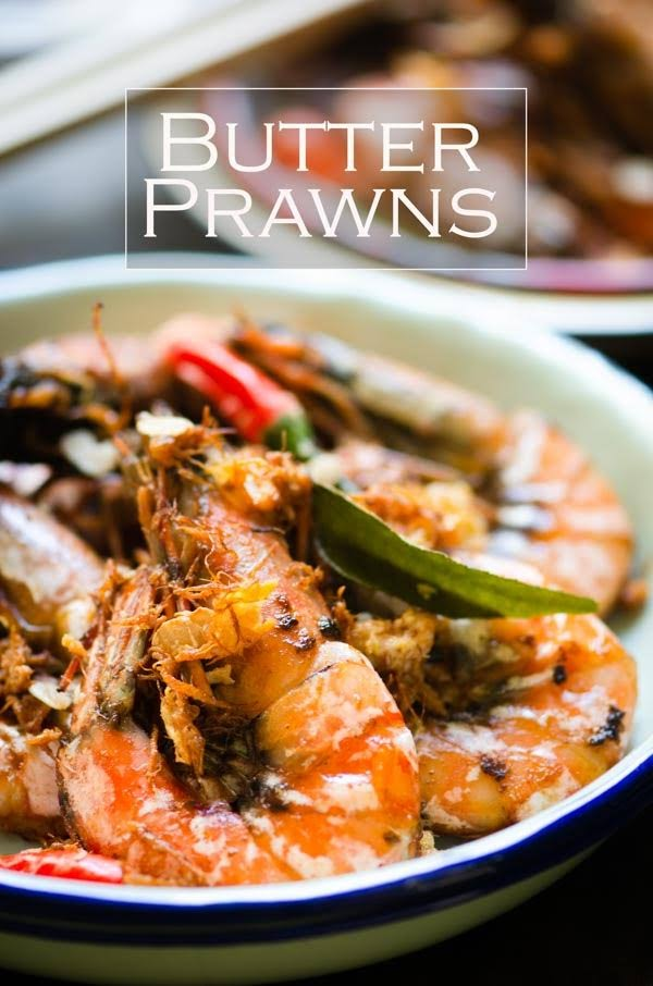 Butter prawns with pandan and curry leaves