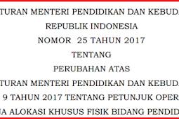 Permendikbud No 25 [Tahun] 2017 PERUBAHAN ATAS Permendikbud No 9 [Tahun] 2017 (Tentang) PETUNJUK OPERASIONAL DAK FISIK BIDANG PENDIDIKAN