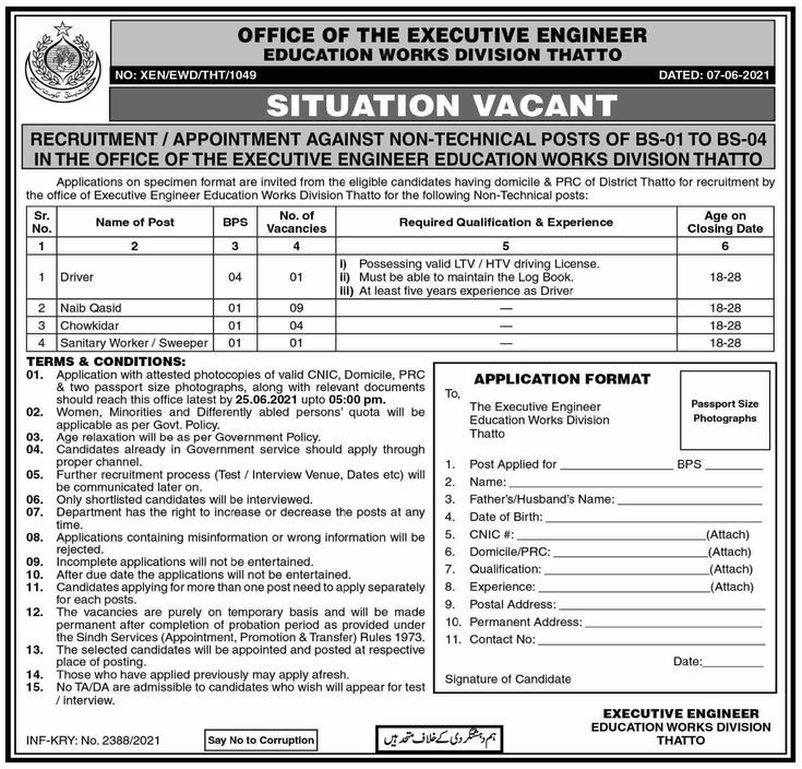Office Of The Executive Engineer Education Works Division Jobs That to Sindh 2021