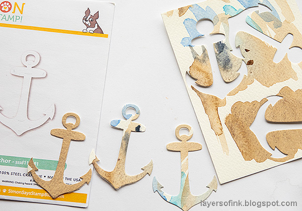 Layers of ink - Always Hope Seascape Art Journal Page Tutorial by Anna-Karin Evaldsson. Die cut anchors.