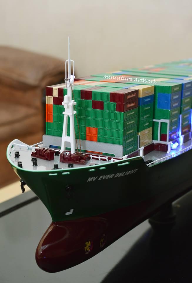 jual miniatur kapal container ever delight evergreen terpercaya