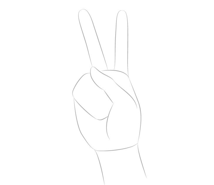 Jari-jari tangan perdamaian sendi menggambar
