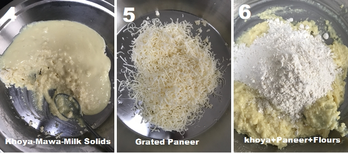 kala jamun dough is prepared with khoya, paneer, and plain flour.