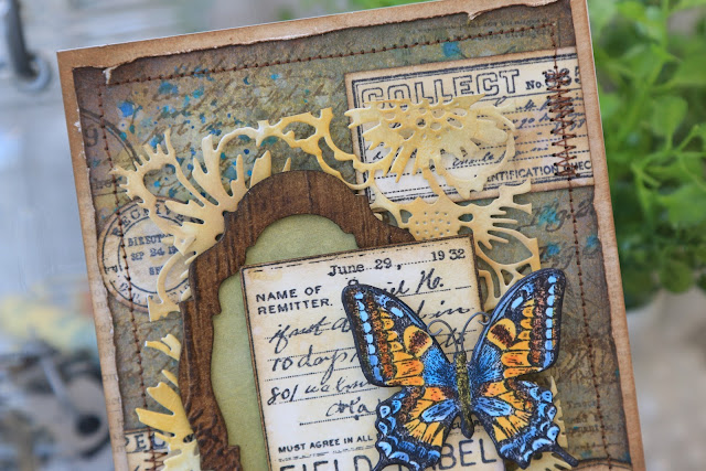 Field Notes Butterfly Card by Juliana MIchaels featuring Tim Holtz Stamper's Anonymous Field Notes Stamp Set