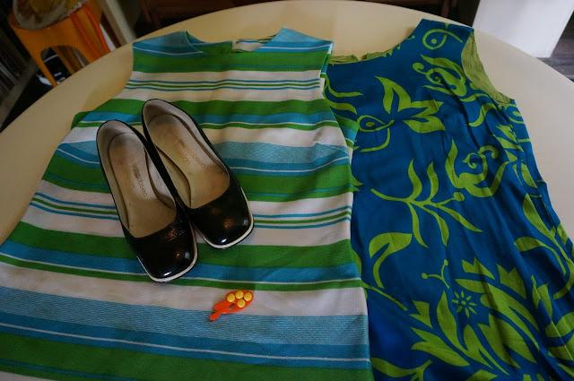 60s 1960 70s 1970 hawaiian dress striped knit dress blue white green orange palette brooch black white patent arne jacobsen design shoes