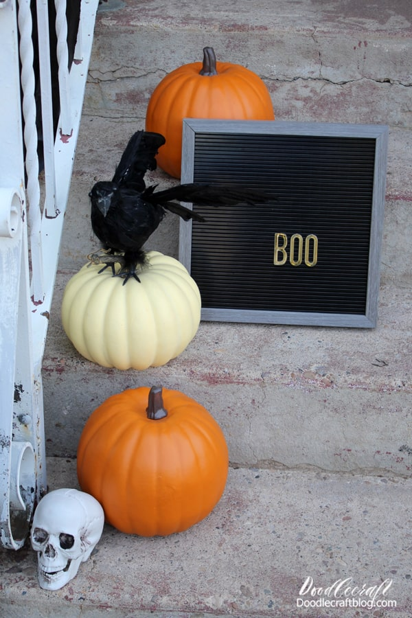 Oriental Trading has everything you need for Halloween! They sent me these goodies in exchange for this post. Affiliate links included. #orientaltrading #otchalloween #otcspookysquad  Here's the fun items I used: Black Plastic Tablecloth Roll  Full Size Skeleton  Animated Sitting Scarecrow  Foam Pumpkin  Letterboard (large and small)  Crows  Happy Halloween Door Mat  Birdcage  Sidewalk Chalk  Candelabra  Skulls  Galvanized Bucket  Pumpkin Pom-poms  Black Cauldron  Halloween Squishies  Halloween Candy