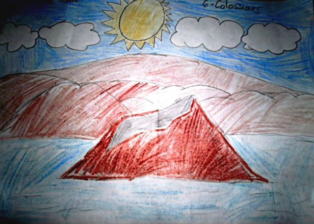 Taal Volcano - color pencil drawing