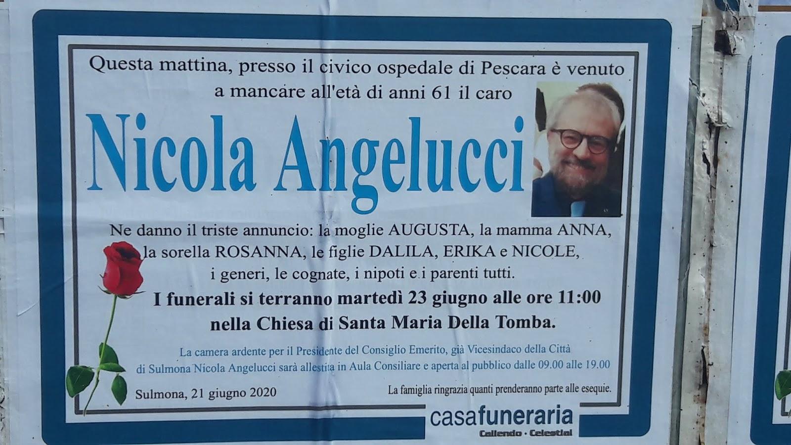 Centroabruzzonews E Morto Nicola Angelucci