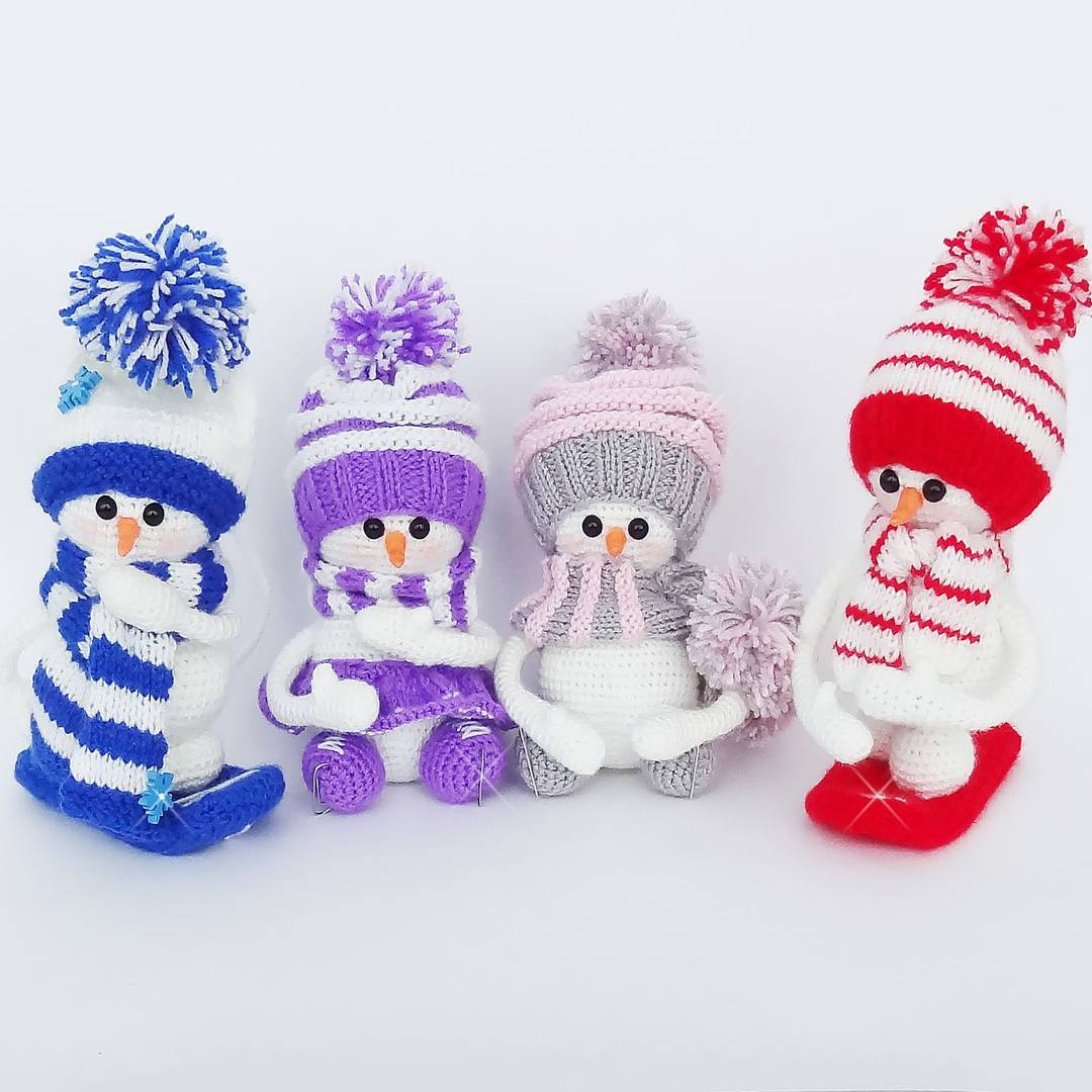 Вязаные снеговички амигуруми крючком | Hi amigurumi