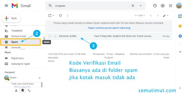cara mengecek kode verifikasi email