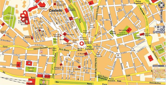 Mapa do centro da cidade de Cagliari - Sardenha
