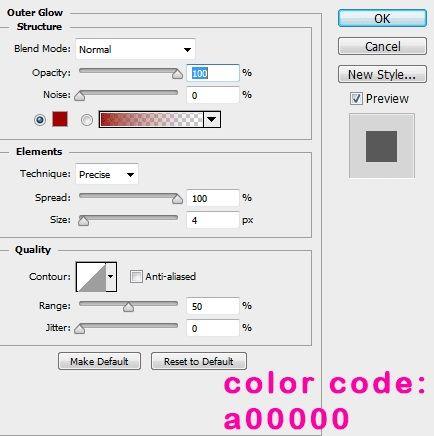 Outer Glow untuk efek tambahan agar teks tampak lebih horror di Photoshop