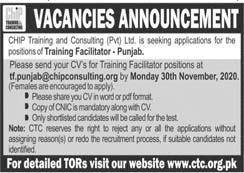 CTC Punjab Jobs 2020, Chip Training & Consulting