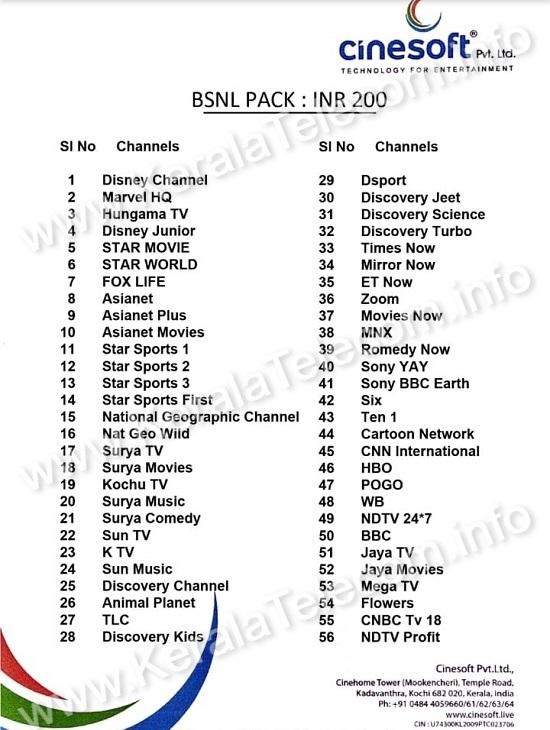 BSNL IPTV Channel List - BSNL Pack Rs 200