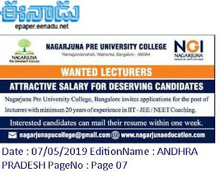 Nagarjuna Pre University College Bangalore Lecturers Jobs Recruitment 2019