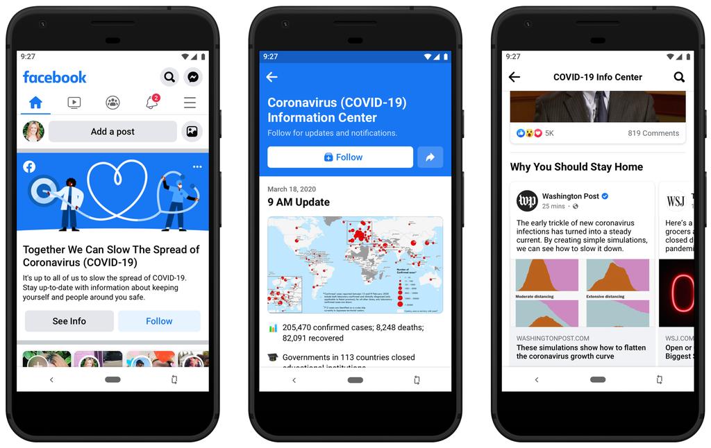 Coronavirus, Facebook lancia il suo Centro Informazioni