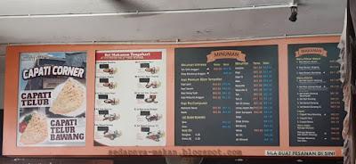 senarai menu di Anggun Briyani