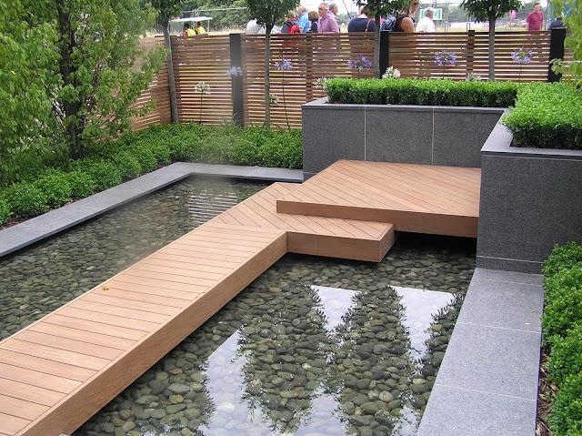 nowoczesny, miejski ogródek pokazowy, nowoczesne oczko wodne