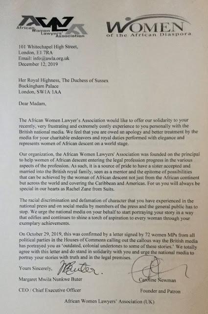 UK African Women Lawyer's Association support Meghan Markle