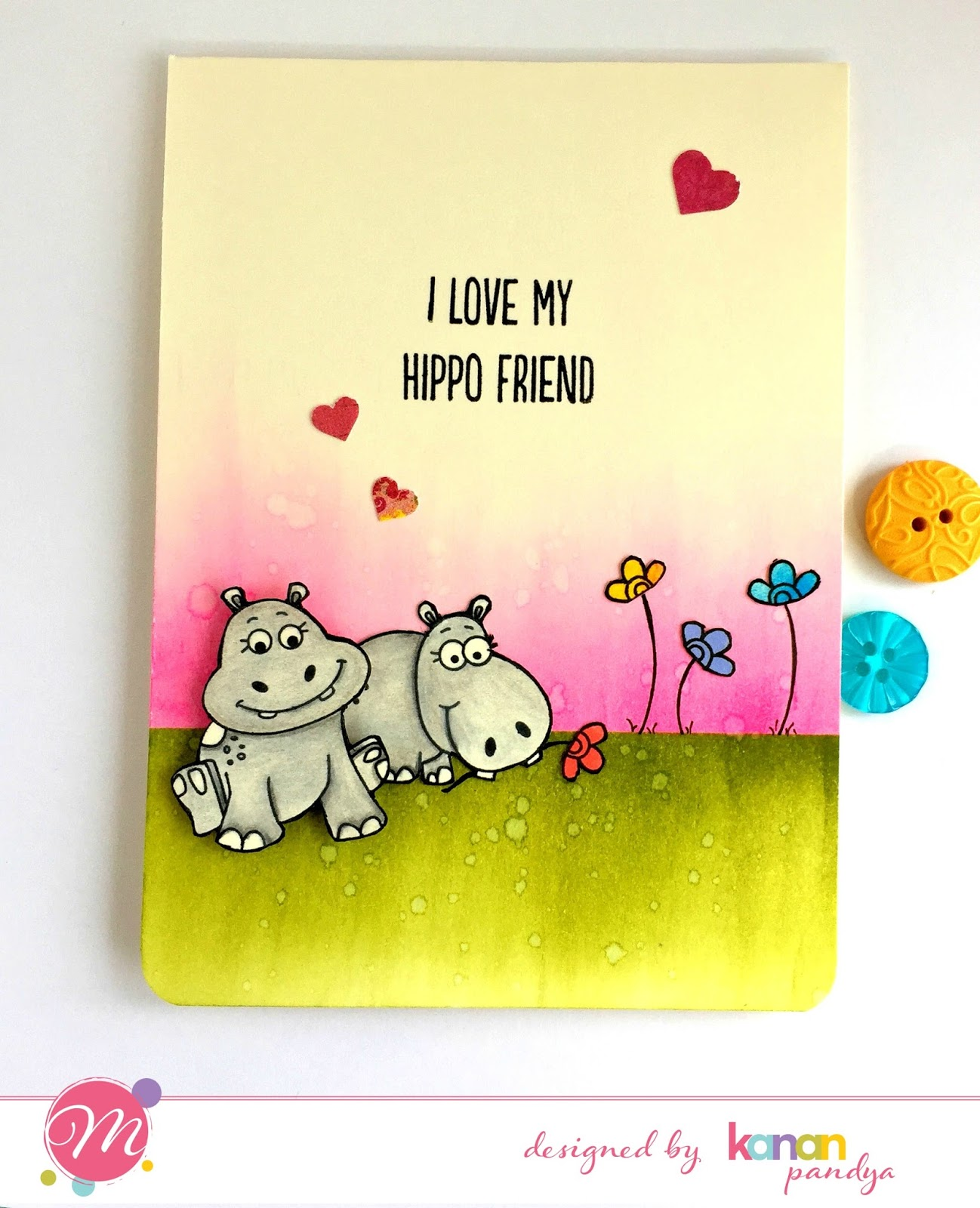 mudra craft stamps hippo friend and happy birthday cards