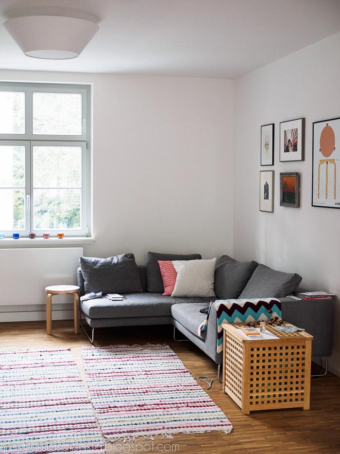 lundia halo lamppu, adea band sohva, olohuoneen vaalea sisustus