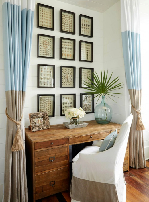 Coastal Office Nook in Living Room with Gallery Wall Shell Art Shadow Boxes