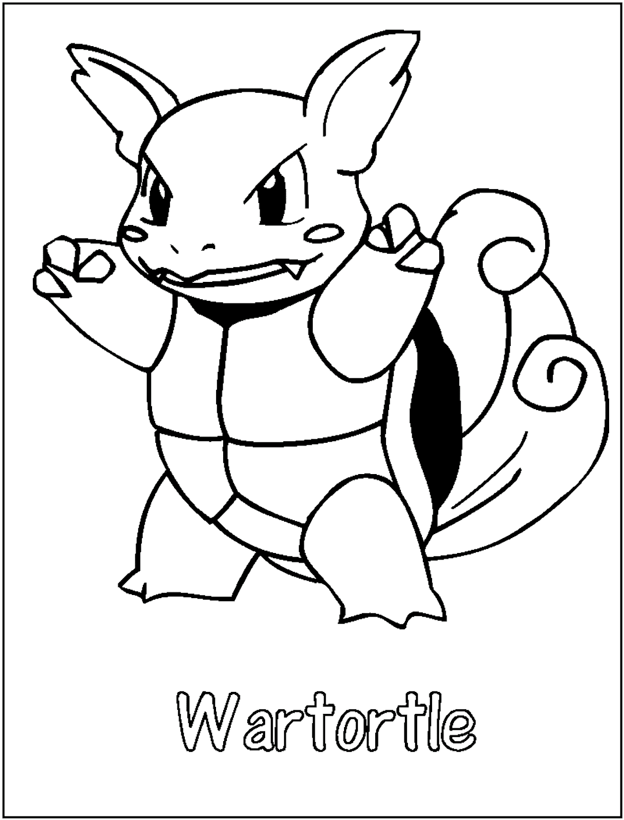 Wartortle Coloring Pages To Print Free Pokemon Coloring Pages
