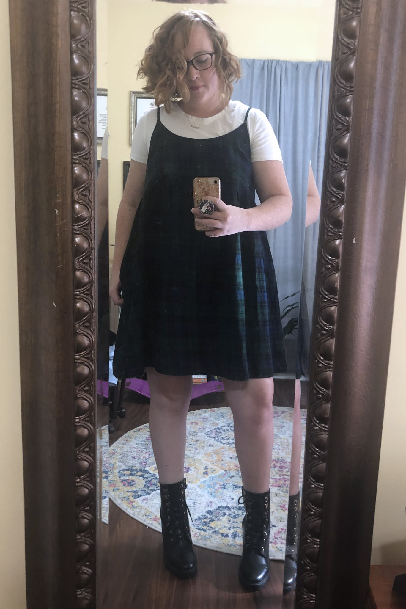 plaid dress combat boots