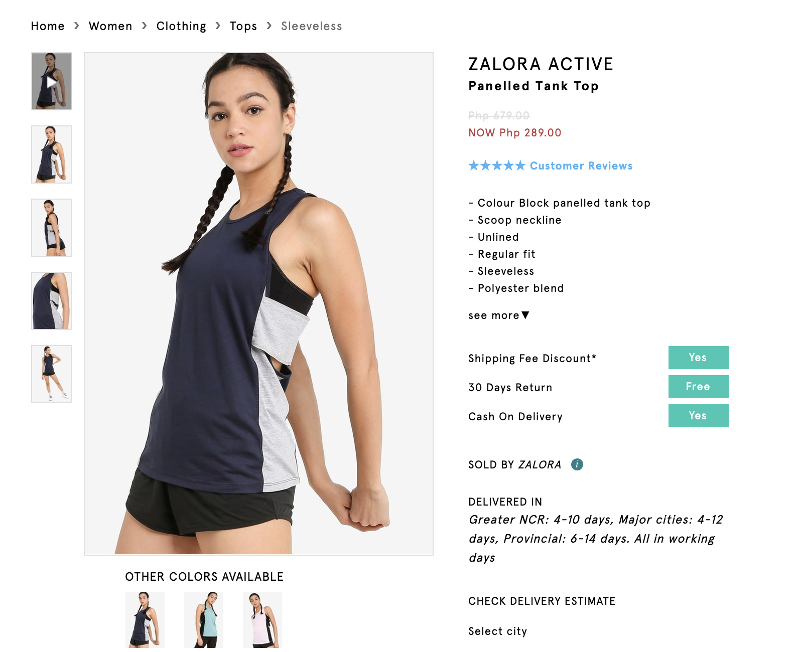 Screenshot of Zalora Active Panelled Tank Top