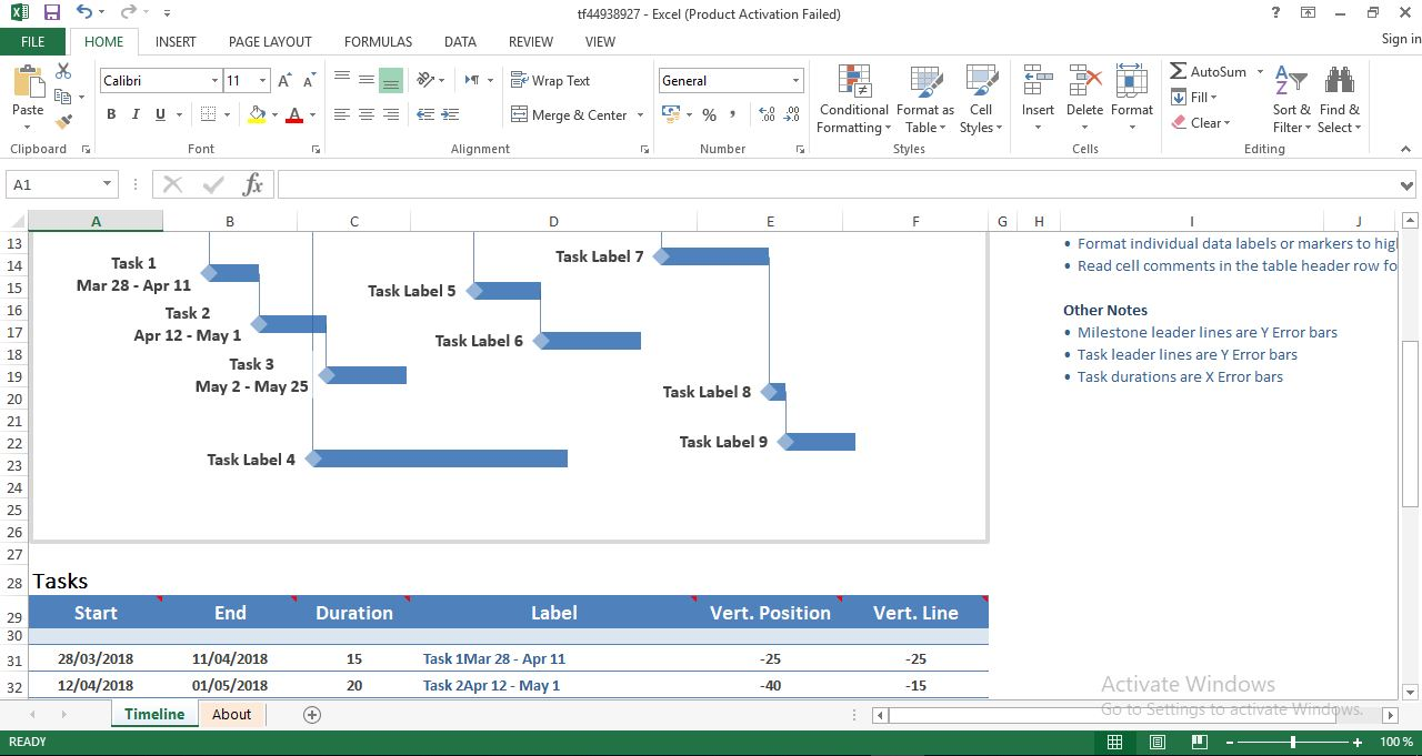 Milestone And Task Project Timeline Excel Template