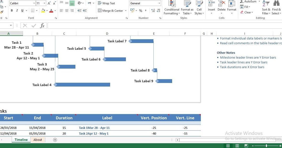 Milestone and task project timeline excel template - ENGINEERING