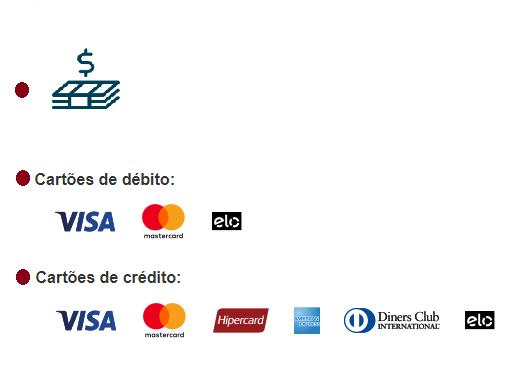 Dinheiro ou cartão debito/crédito