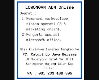 LOKER blitar admin online