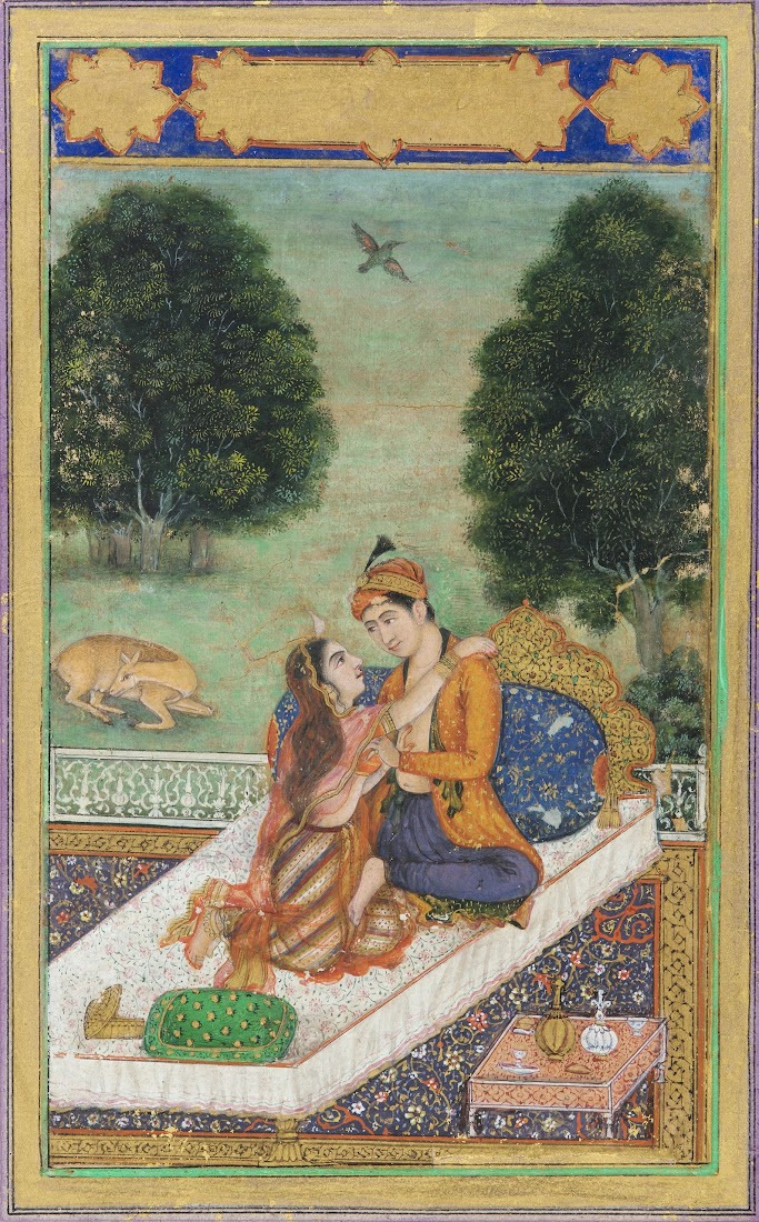 Lovers on a Terrace- Mughal Painting, Late 18th Century